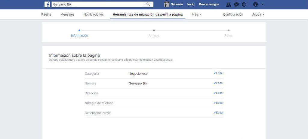 Cambiar nombre página de Facebook
