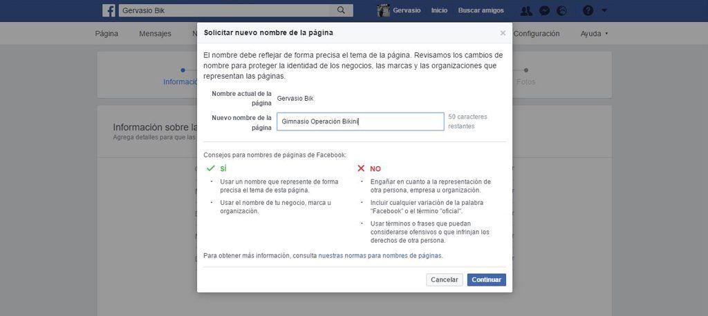 Cambiar nombre de página de Facebook