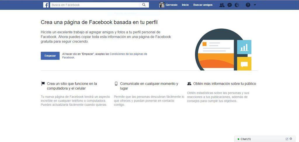 Crea página Facebook basada en perfil