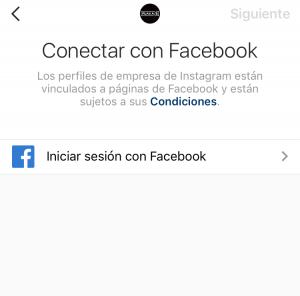 Conectar Instagram con página de Facebook