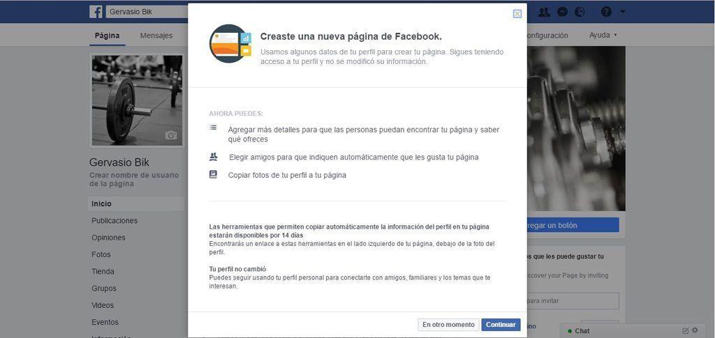 Migración perfil personal a página de Facebook