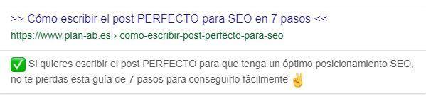 Título y metadescripcion optimizados para SERP de Google