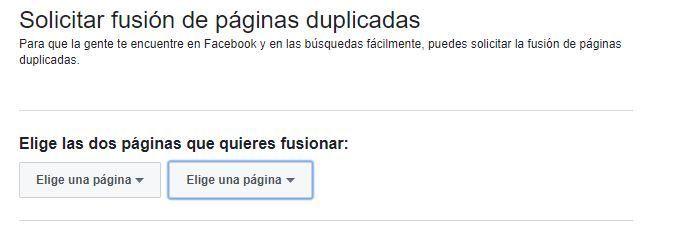 Elegir páginas a fusionar en Facebook