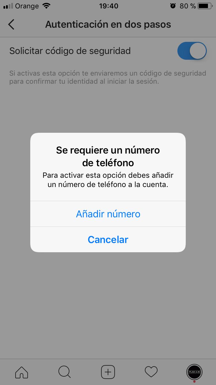 Solicitar código seguridad Instagram
