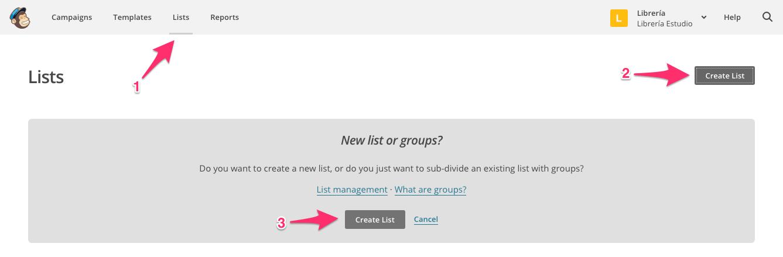 Pantalla para crear una nueva lista en Mailchimp.