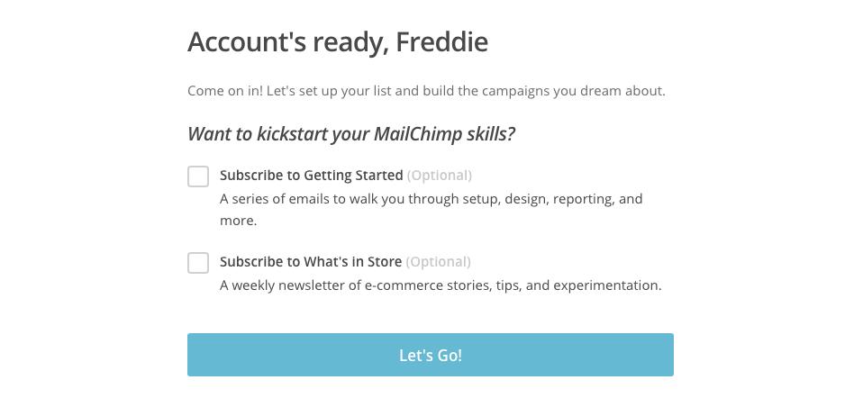 ¡Ya tenemos nuestra nueva cuenta de Mailchimp!