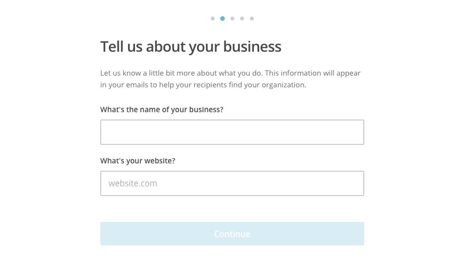 Información de tu negocio en Mailchimp.