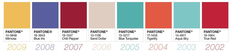 Colores del año Pantone 02-09