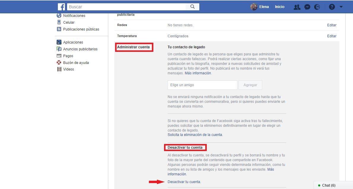 Desactivar perfil personal Facebook