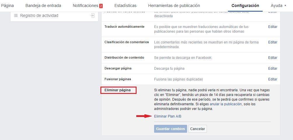 Eliminar página de Facebook