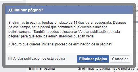 Iniciar proceso eliminar página