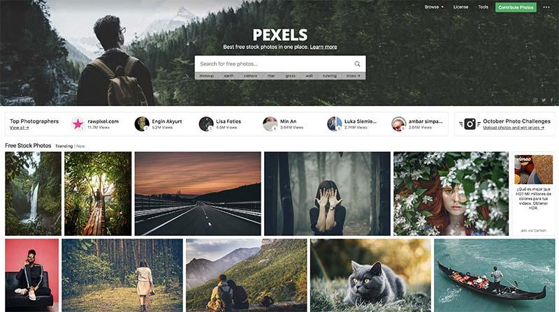 Pexels banco de imágenes gratuito