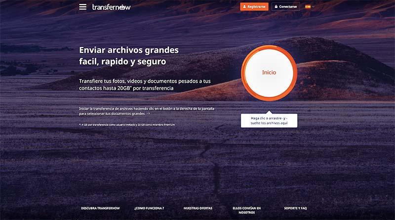 Transfernow compartir archivos grandes