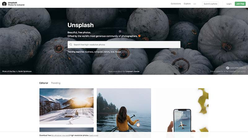 Unsplash banco de imágenes gratuito