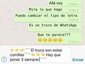 Cambio de letra en WhatsApp