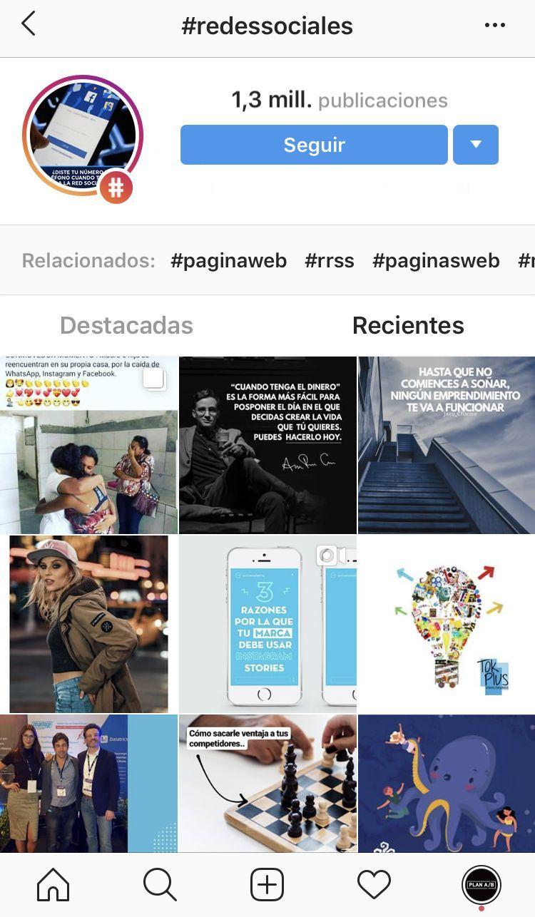 Seguir un hashtag en Instagram