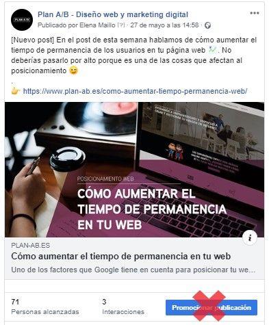 Botón promocionar publicación en Facebook