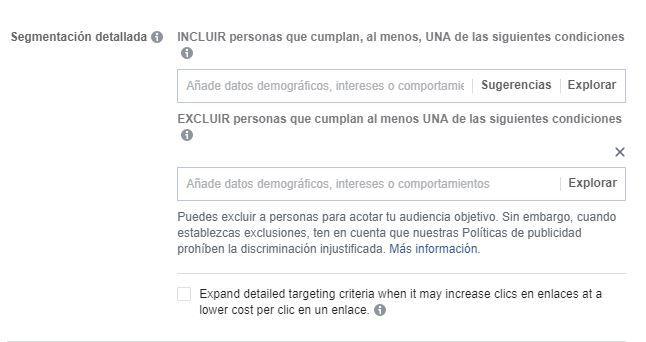 Segmentación detallada Facebook Ads
