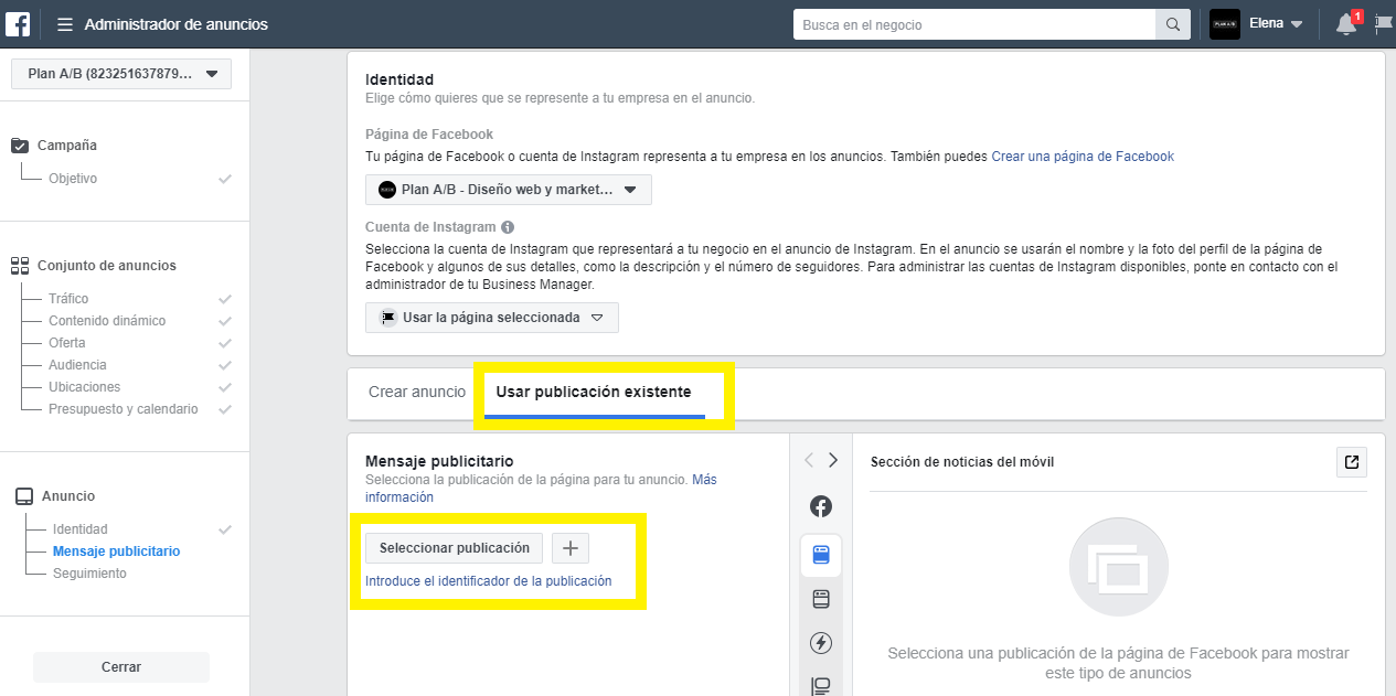 Usar publicación existente para anuncios de Facebook