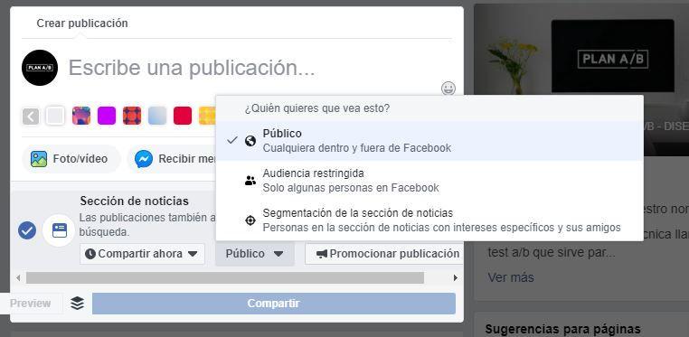 Quién quieres que vea tus publicaciones de Facebook