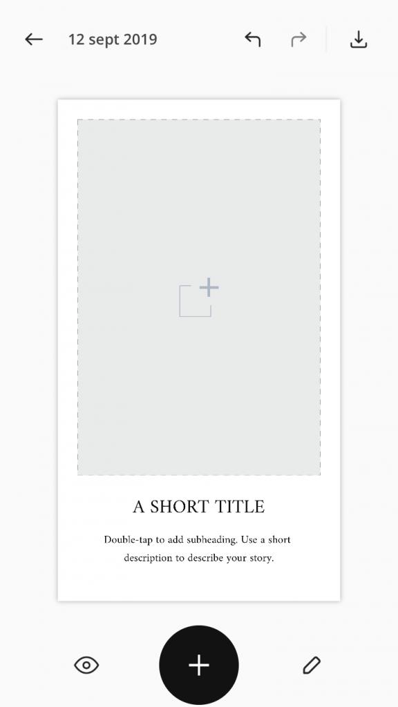 Crear historia para Instagram en Unfold