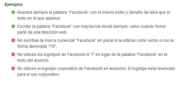 Ejemplos uso marca Facebook