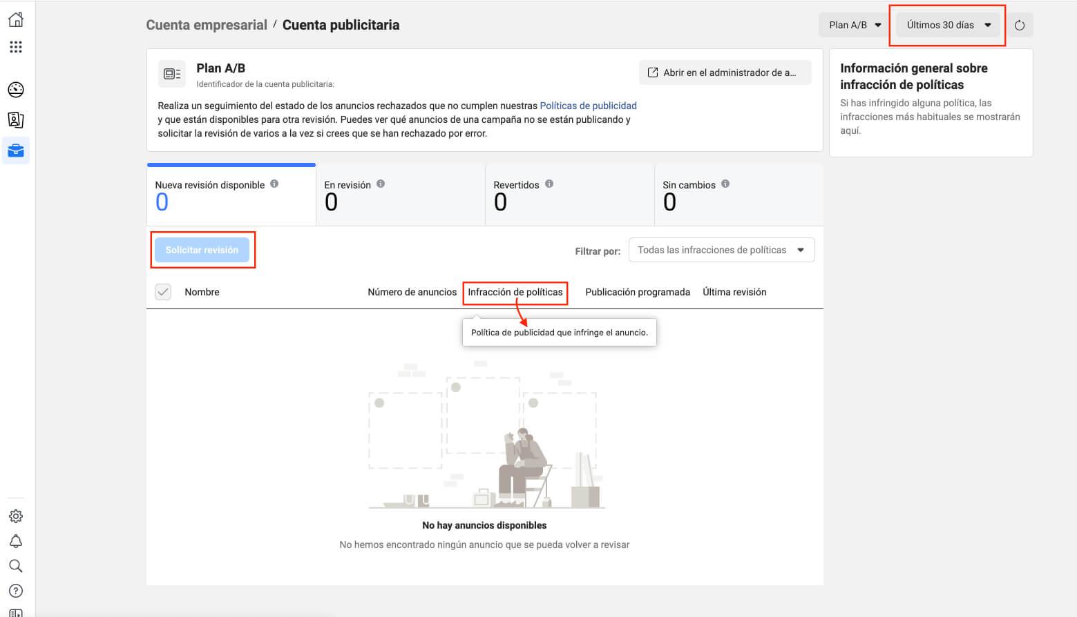 Revisión de anuncios en Calidad de página de Facebook