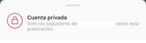 Aviso cuenta privada Instagram