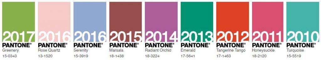 Colores Pantone años 2010 a 2017