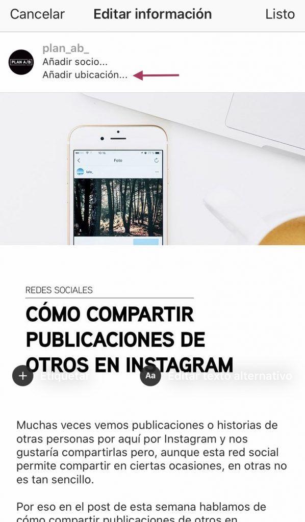 Añadir ubicación foto Instagram