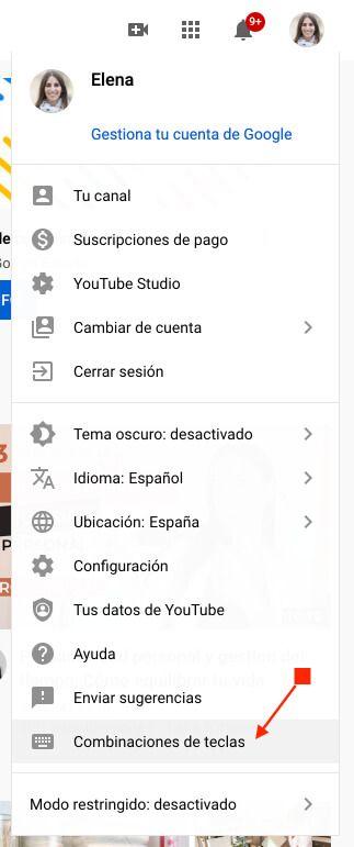 Combinaciones de teclas Youtube