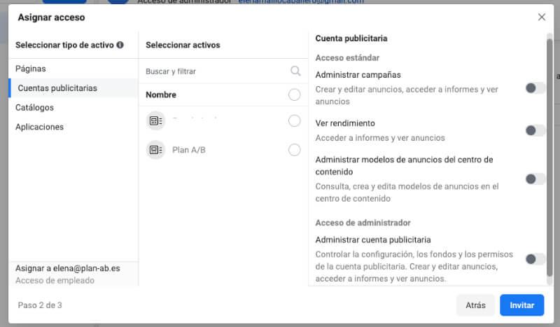 Asignar accesos cuenta publicitaria Facebook
