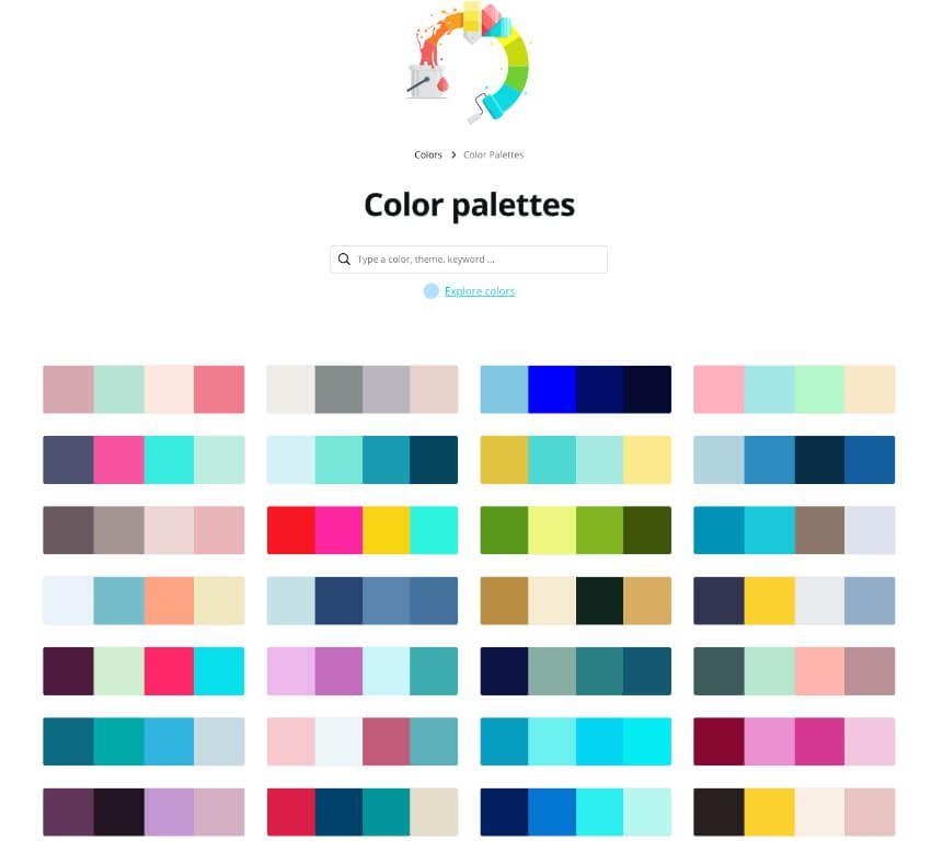 Color palettes ideas Canva