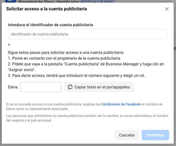Solicitar acceso a cuenta publicitaria Facebook