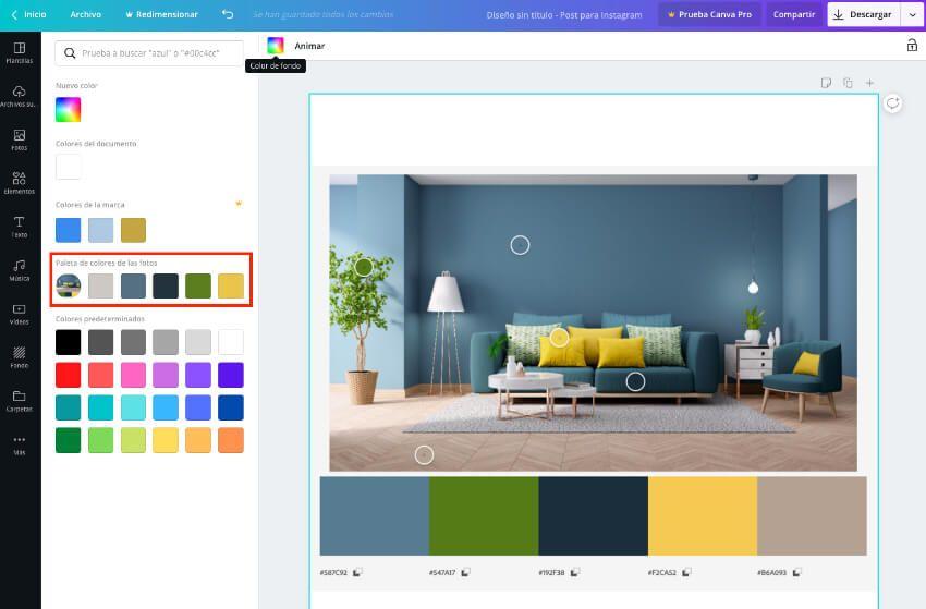 Ver la paleta de colores de un diseño en Canva
