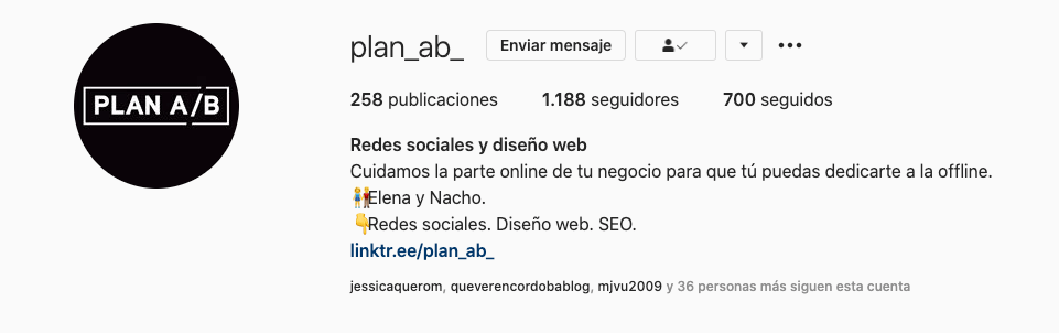 Nombre y nombre de usuario en Instagram Plan AB