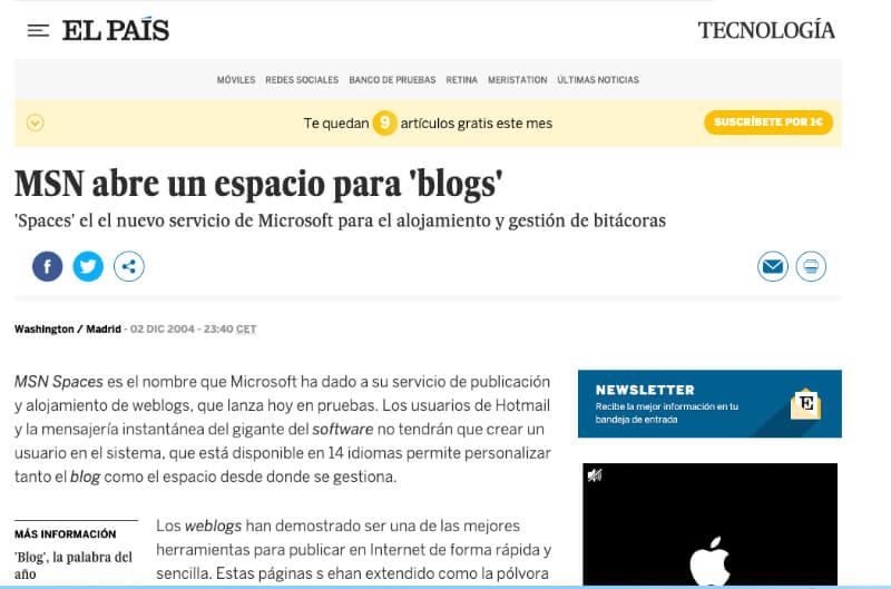 Noticia El Pais MSN Spaces