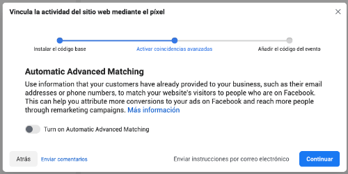 activar coincidencias avanzadas pixel facebook