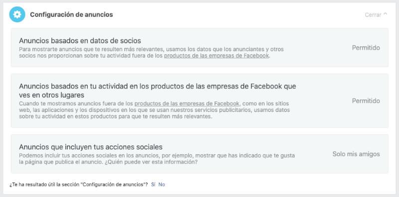 Configuración anuncios Facebook