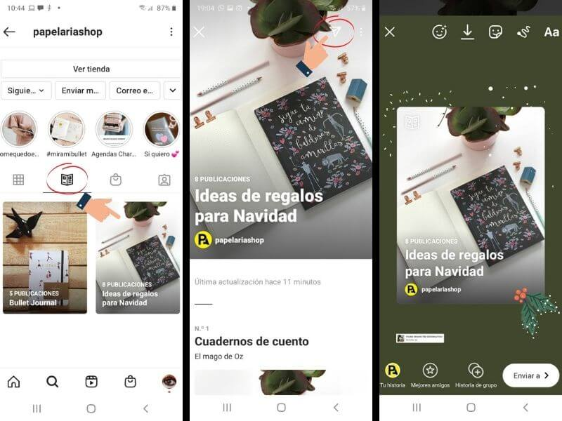 Compartir una guía de Instagram en stories