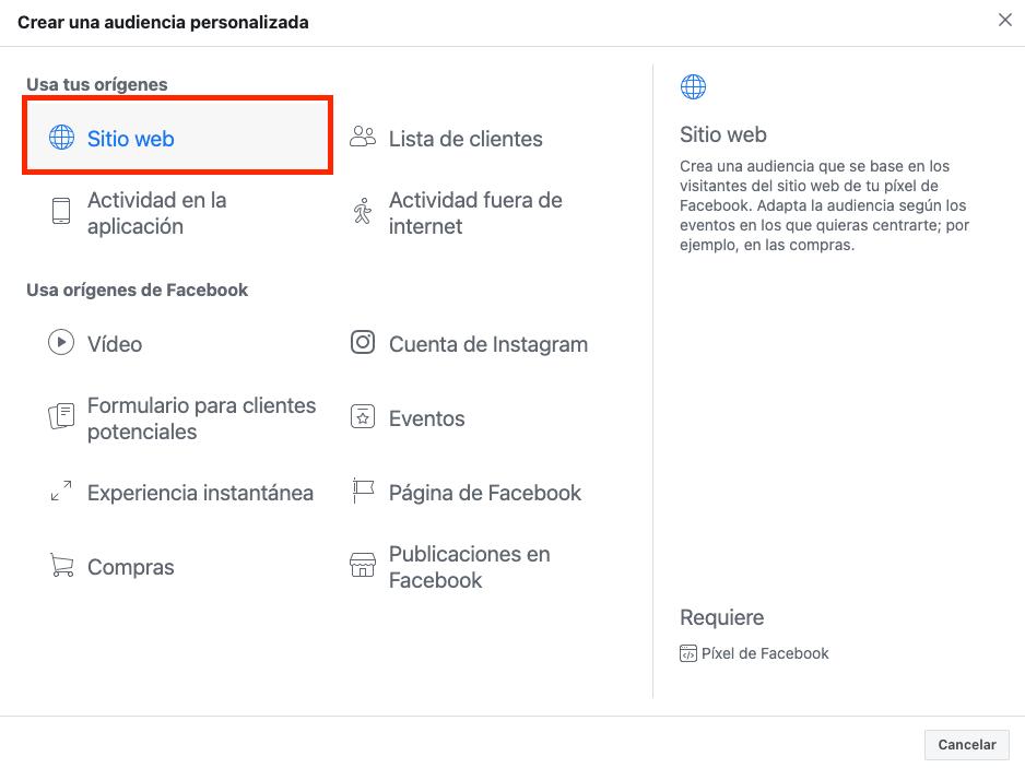 Audiencia personalizada para visitas a tu web Facebook