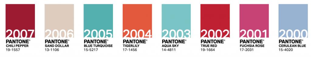 Colores Pantone años 2000-2007