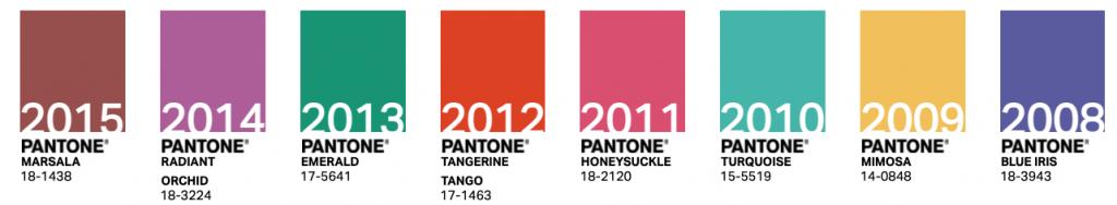 Colores Pantone años 2008-2015