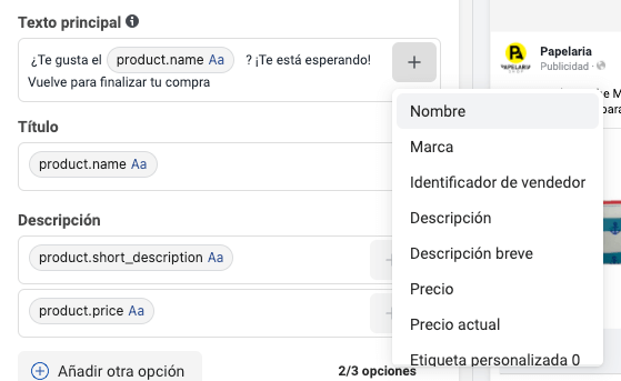 Incluir nombre del producto en anuncios de venta del catálogo Facebook