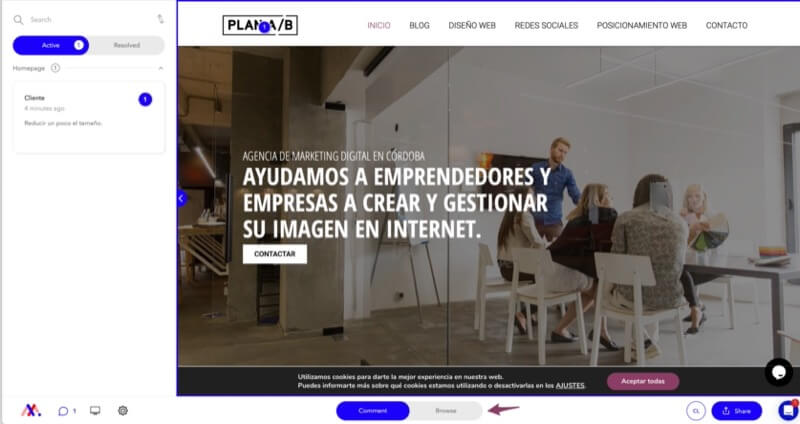 navegar web para revisión de diseño