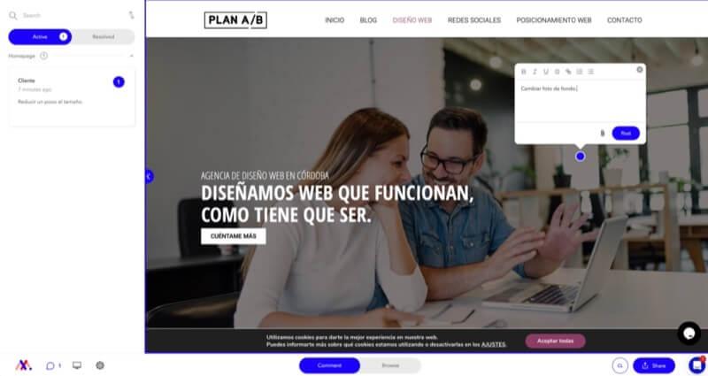 cambios de diseño en secciones diferentes del sitio web