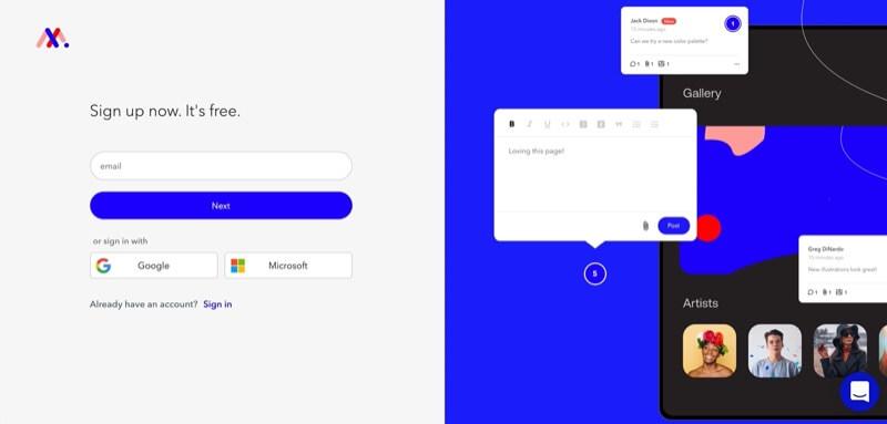 crear cuenta en markup.io