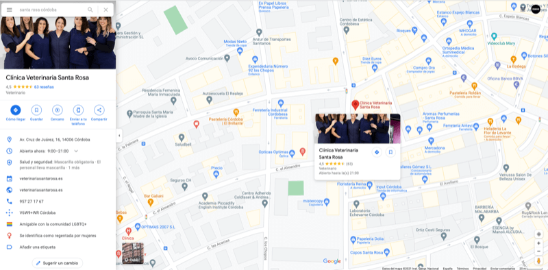 Negocios en Google Maps